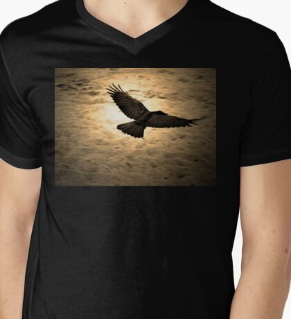 Glowing Crow Mens V-Neck T-Shirt