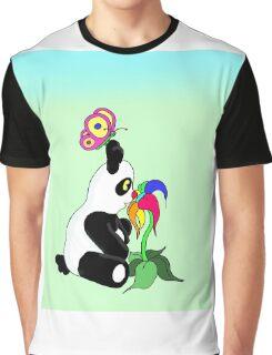 Panda and Flower Graphic T-Shirt