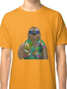 Sloth on summer holidays drinking a mojito Classic T-Shirt