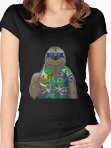 Sloth on summer holidays drinking a mojito Women's Fitted Scoop T-Shirt