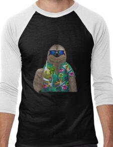 Sloth on summer holidays drinking a mojito Men's Baseball ¾ T-Shirt