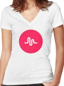 Musically Logo Premium Quality Women's Fitted V-Neck T-Shirt