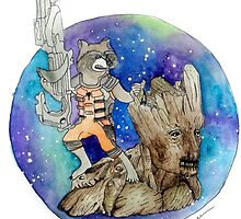 Groot and Rocket by gsaundersart