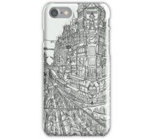 Steampunk Victorian City Skyline Clock Tower Sketch iPhone Case/Skin