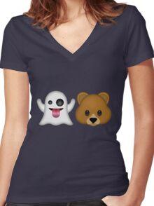 Ghost Bear 53 Emoji Women's Fitted V-Neck T-Shirt