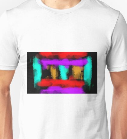 blue orange red and purple painting abstract with black background Unisex T-Shirt