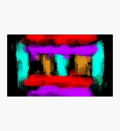 blue orange red and purple painting abstract with black background Photographic Print