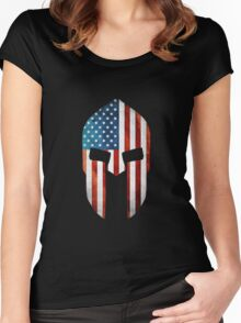 Spartan American Flag Grunge Women's Fitted Scoop T-Shirt