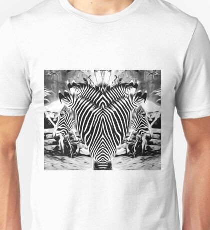 drawing and painting zebras in black and white Unisex T-Shirt