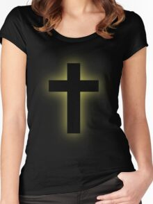 Cross (backlit gold) Women's Fitted Scoop T-Shirt