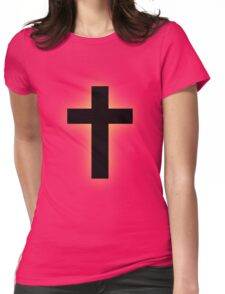 Cross (backlit gold) Womens Fitted T-Shirt