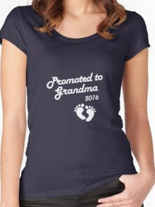 Promoted To Grandma 2016 New Baby Announcement Women's Fitted Scoop T-Shirt