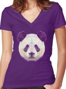 Panda Bear Animals Women's Fitted V-Neck T-Shirt