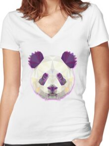 Panda Bear Animals Women's Fitted V-Neck T-Shirt