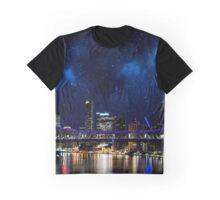 Brisbane City Skyline - Stars and Lights Graphic T-Shirt
