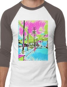 drawing and painting blue city with pink and green sky Men's Baseball ¾ T-Shirt