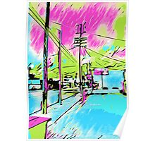drawing and painting blue city with pink and green sky Poster