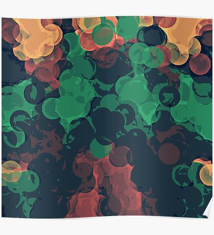 green brown orange and black circle abstract background Poster
