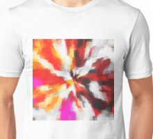 red orange pink and black square pattern painting abstract background Unisex T-Shirt