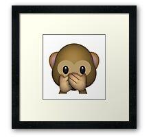 Emoji Speak No Evil Monkey Framed Print