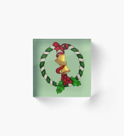 Bells and Holly Wreath Acrylic Block