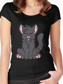 Cute Chibi Black Cat Women's Fitted Scoop T-Shirt