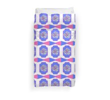 Bold pink and blue floral geometric fashion print Duvet Cover