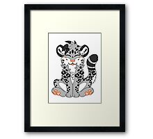Cute Chibi Snow Leopard Framed Print
