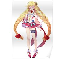 Pretty Anime Girl White And Red Dress Poster
