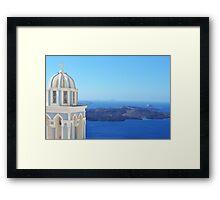 Church in Santorini near the Aegean Sea Framed Print