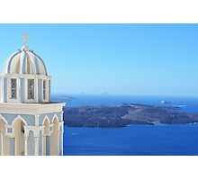 Church in Santorini near the Aegean Sea Photographic Print