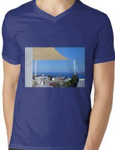 White architecture in Santorini, Greecem detail of restaurant Mens V-Neck T-Shirt