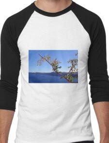 Olive tree and the Aegean Sea in Santorini Men's Baseball ¾ T-Shirt