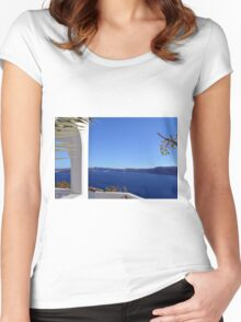 White architecture in Santorini, Greece Women's Fitted Scoop T-Shirt
