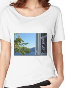 Olive tree and the Aegean Sea in Santorini Women's Relaxed Fit T-Shirt