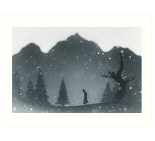 Winter silhouettes with snow falling Art Print