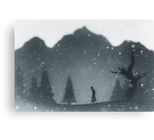 Winter silhouettes with snow falling Canvas Print