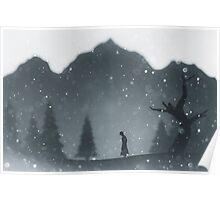 Winter silhouettes with snow falling Poster