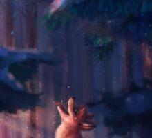 Fox in a snowy forest Sticker