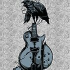 Crow on Guitar by tinaodarby