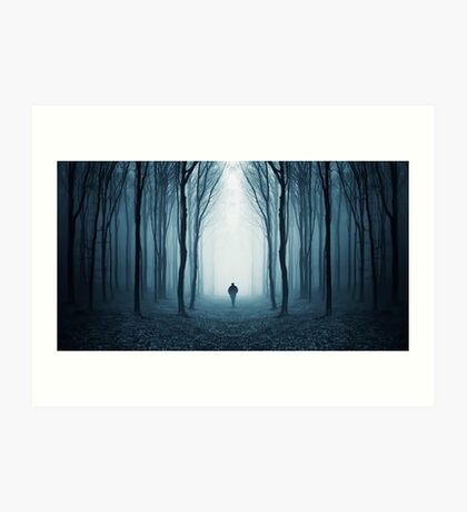 Man in surreal forest with fog on Halloween Art Print