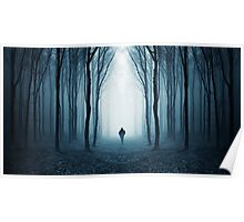 Man in surreal forest with fog on Halloween Poster