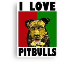I Love Pitbulls, Black Font Canvas Print