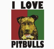 I Love Pitbulls, Black Font by Ashlee Evans