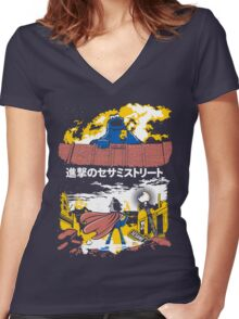 Attack on S. Street Women's Fitted V-Neck T-Shirt