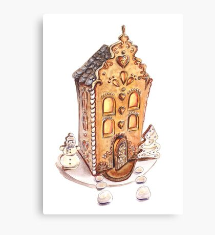 Colorful gingerbread house Canvas Print
