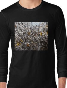 Christmas Decorations by Mother Nature - Frozen Golden Leaves and Brilliant Bokeh Long Sleeve T-Shirt