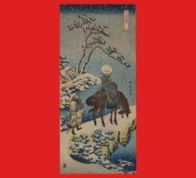 Two travelers, one on horseback - Hokusai Katsushika - 1890 Kids Tee