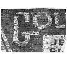 Worn Brick Wall BW 3 Poster