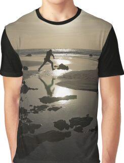 Jumping Silhouette Beach Sunset Graphic T-Shirt